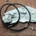Braided leather cord necklace