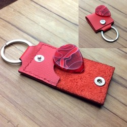 1x Handmade red leather pouch with internal protection.