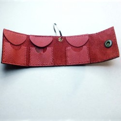 1x Red pouch, for 3 plectra, handcrafted